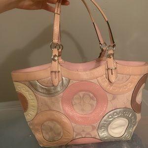 Coach pink tote purse